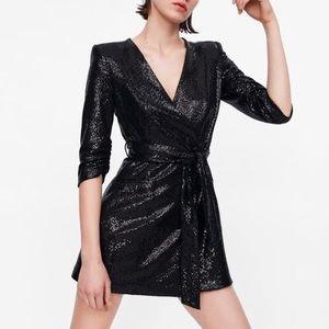 Zara medium black shiny blazer dress